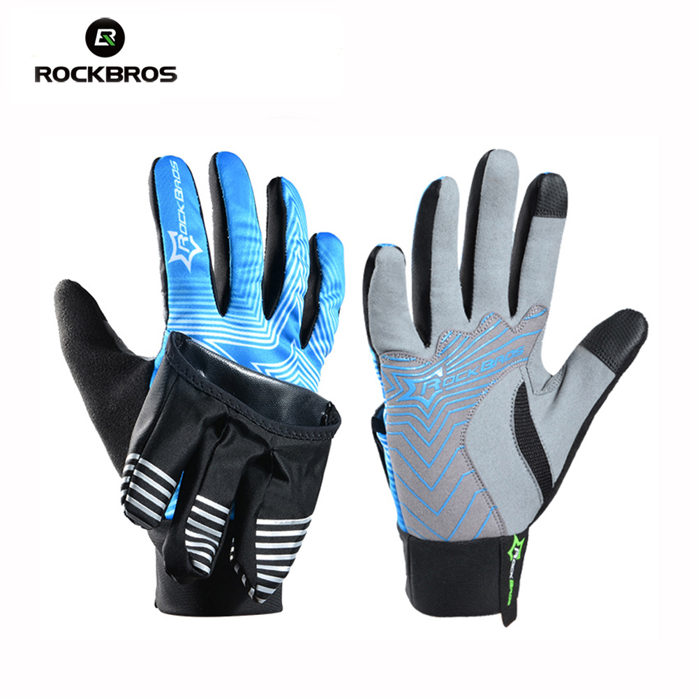 ROCKBROS Winter Cycling Bicycle Full Finger Gloves 2 Modes Outdoor Windproof Waterproof Bike Gloves Inside Out Touch Screen