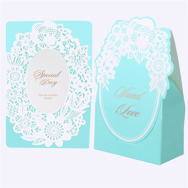 2PC Laser Cut Vine Floral Candy Boxes and Wedding Invitations Card