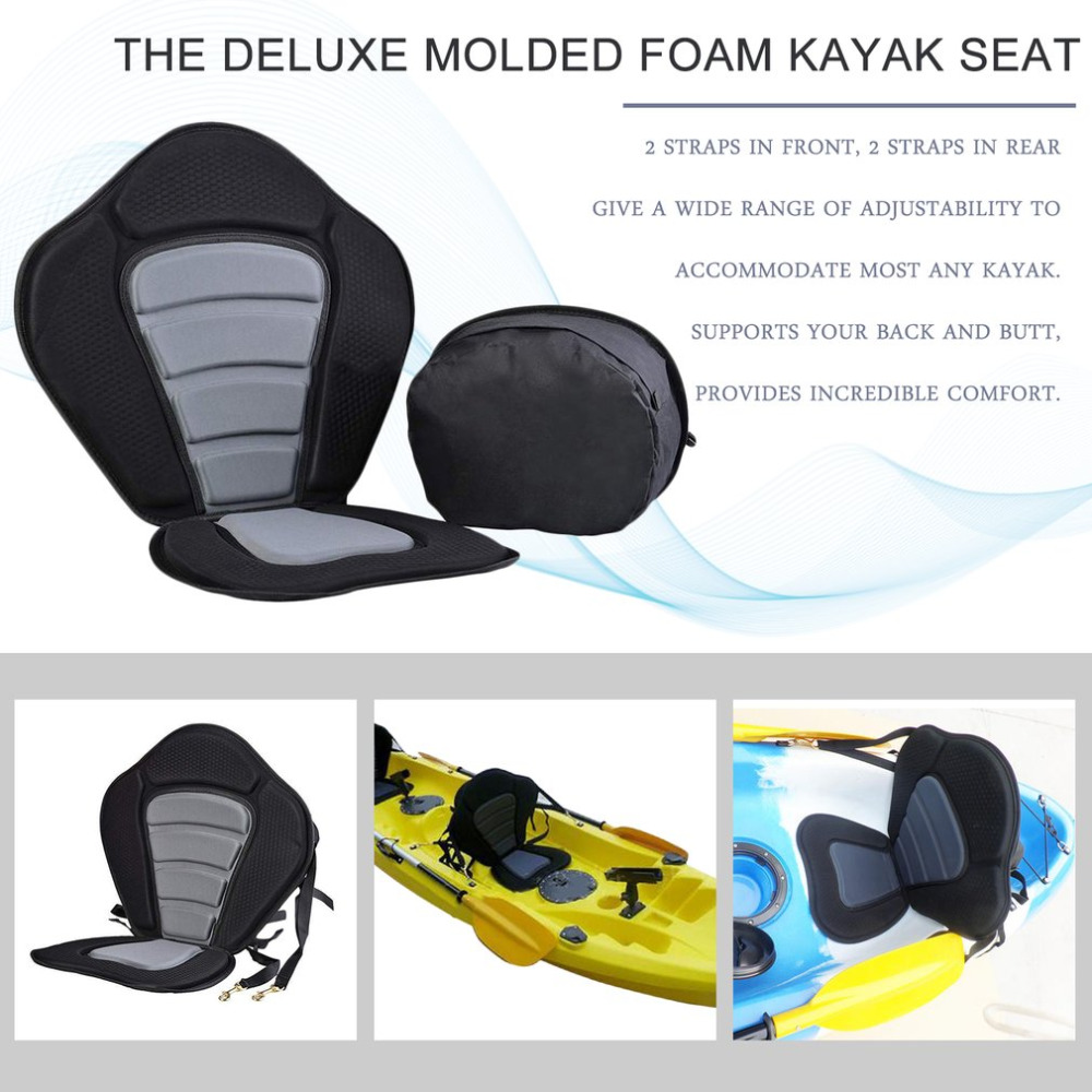 New Deluxe Padded Kayak Boat Seat Rowing Boat Soft and Antiskid Padded Base High Backrest Adjustable Kayak Cushion with Backrest
