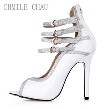 2017 New Black Sexy Party Shoes Women Open Toe Stiletto Super High Heels Buckle Strap Rome Ladies Pumps Zapatos Mujer 0640C-n1 цена 2017