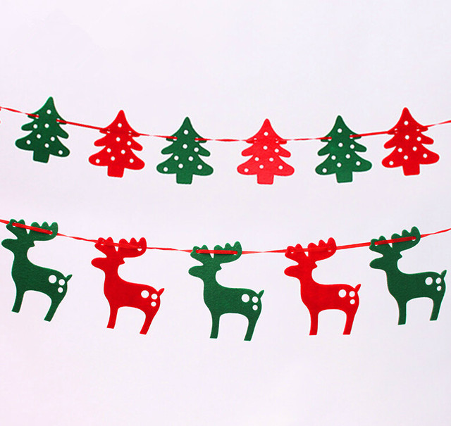 green and red christmas reindeer christmas banners 19 meters felt cloth elk pull flag bunting christmas