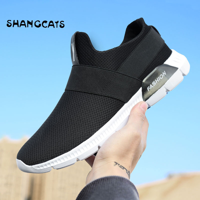 New tenis feminino Casual Slip-on Footwear Lazy Men Sneakers Without Lace Breathable Mesh Man Casual Shoes Men Black/White/Grey slip lace panel mesh sheer babydoll