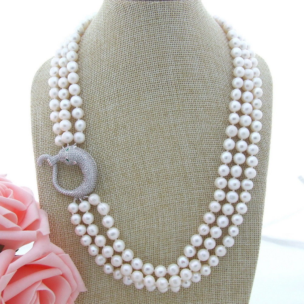 GE010807 22 ''-23'' 8-9 MM 3 brins collier de perles blanches CZ pendentif