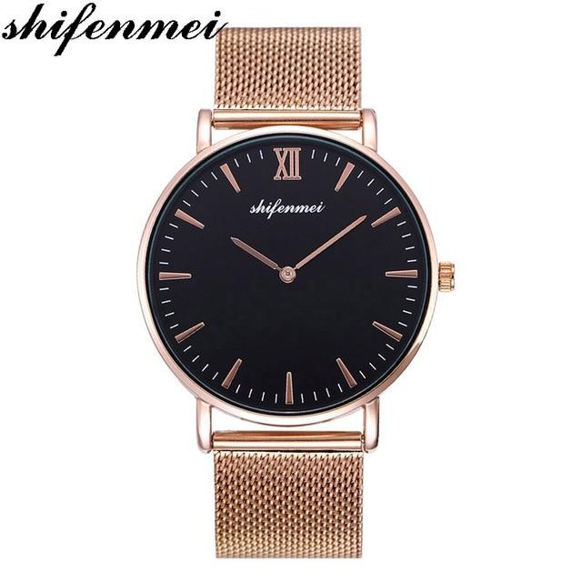 shifenmei S1075 men watches Luxury Minimalist Bracelet Waterproof Hand Mesh Slim Wrist Lady Ultra thin Gold Steel Watch for mens