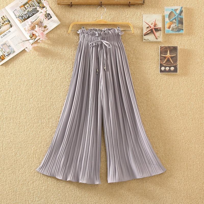 Ruffle Trousers for Women High Waist Wide Leg Chiffon Loose Pants Female Casual Large Sizes Clothes Korean Autumn 3