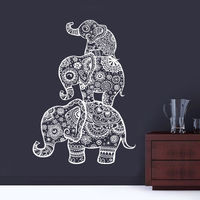 Three Elephant Wall Decals India Mandala Buddha OM Viny Bedroom Wall Stickers CW 69