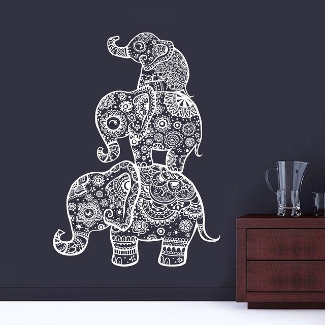 Drei elefanten wandtattoos indien mandala buddha om vinyl schlafzimmer wandaufkleber elaphant - Schlafzimmer buddha ...