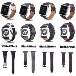 В стиле ретро из натуральной кожи ремешок для Apple Watch IWatch 38 мм 42 мм для серии 1 2 3 полоса из металла пряжка браслет Для мужчин ремешок для часов