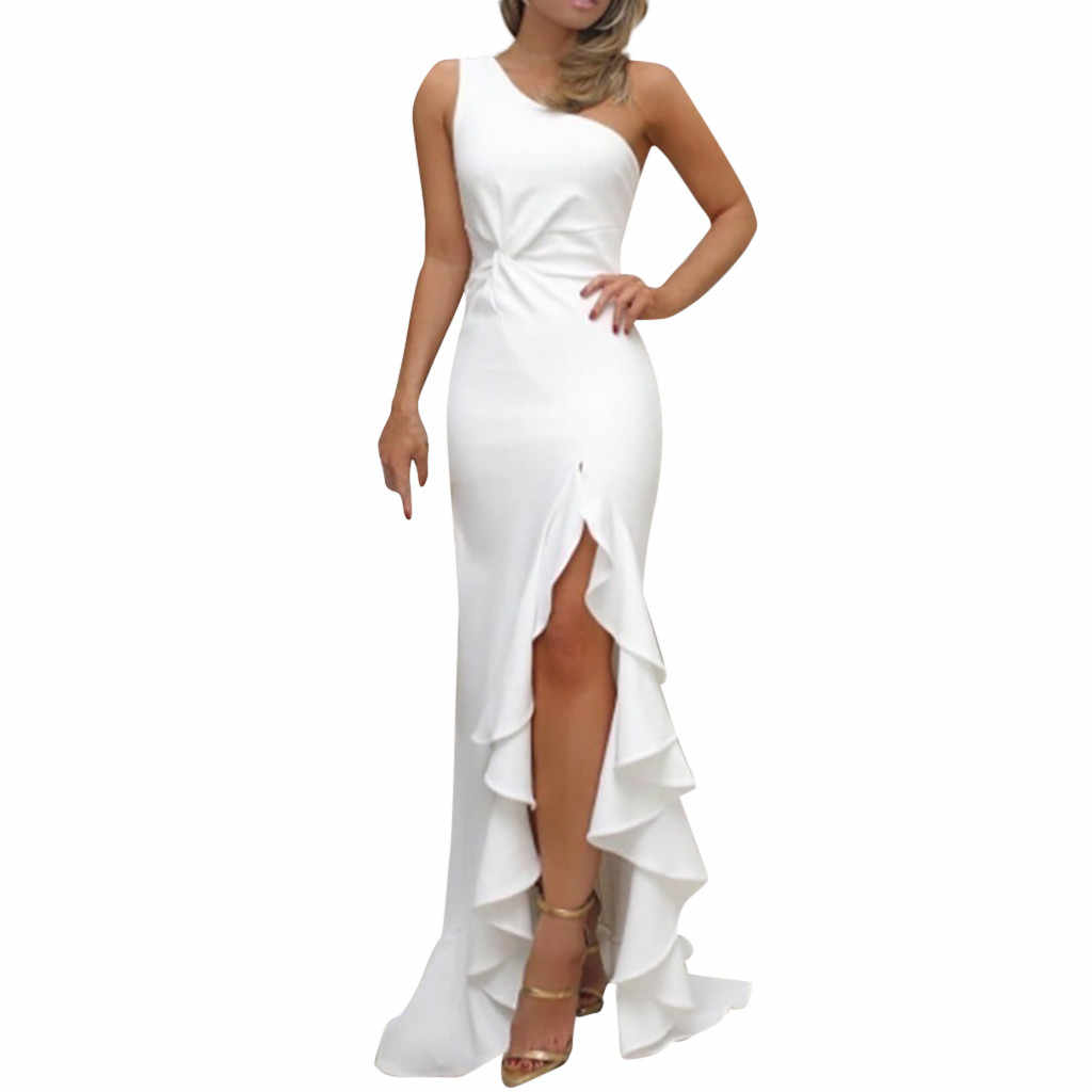 Summer Party Dress Sexy Women Maxi Dress One Shoulder Sleeveless Bandage Dresses Woman Party Night Women Clothes 2019