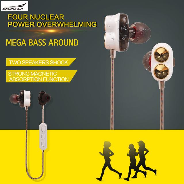 Nuevo Diseño 2 de Choque Altavoz Bass Sound Control de Voz Auriculares Auriculares Bluetooth 4.1 Auriculares Inalámbricos Deporte Magnética