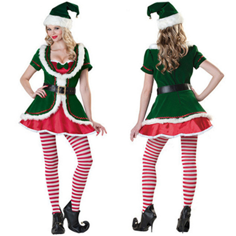 High Quality Sexy Green Santa Elf Costume for Adults Female Celebrate Christmas  party Fancy Dress Uniform 29116e013944