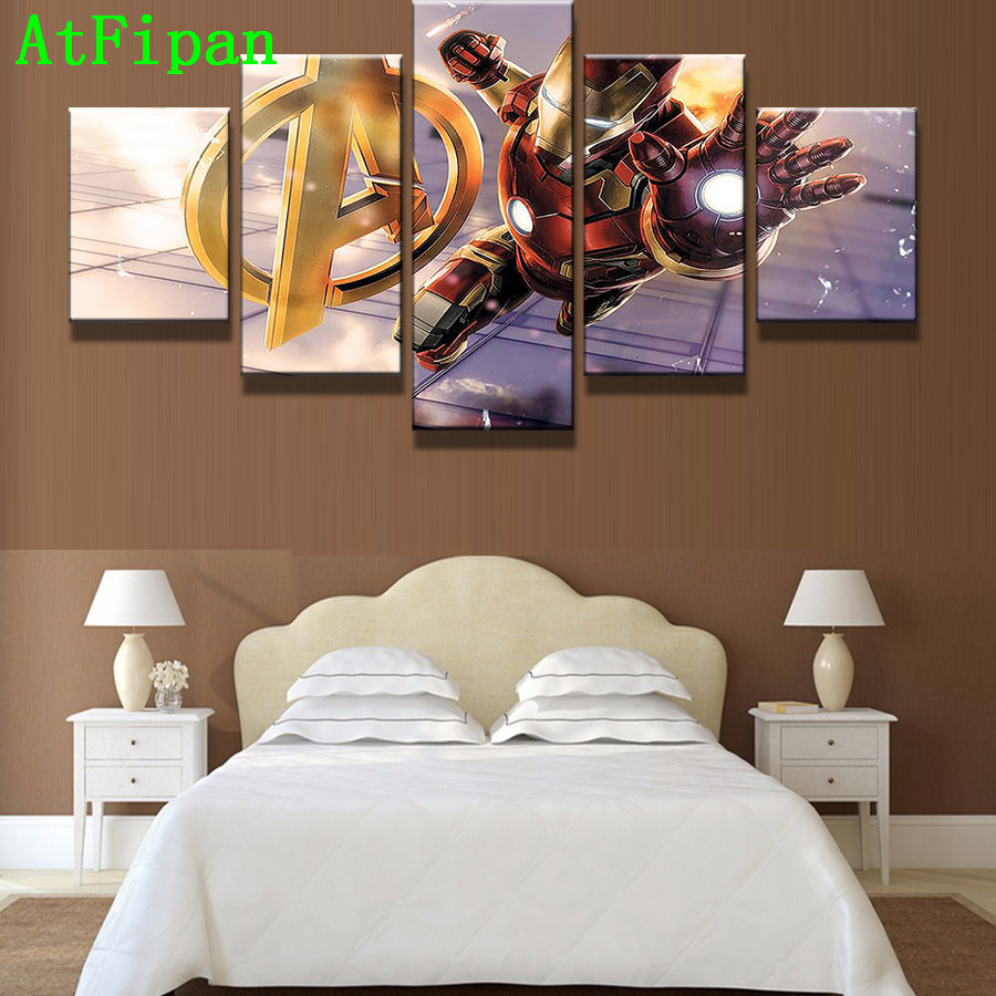 Atfipan 5 Panel Avengers Age Of Ultron Iron Man Modern Painting On Canvas Oil Cuadros Decoracion Wall Pictures For Living Room