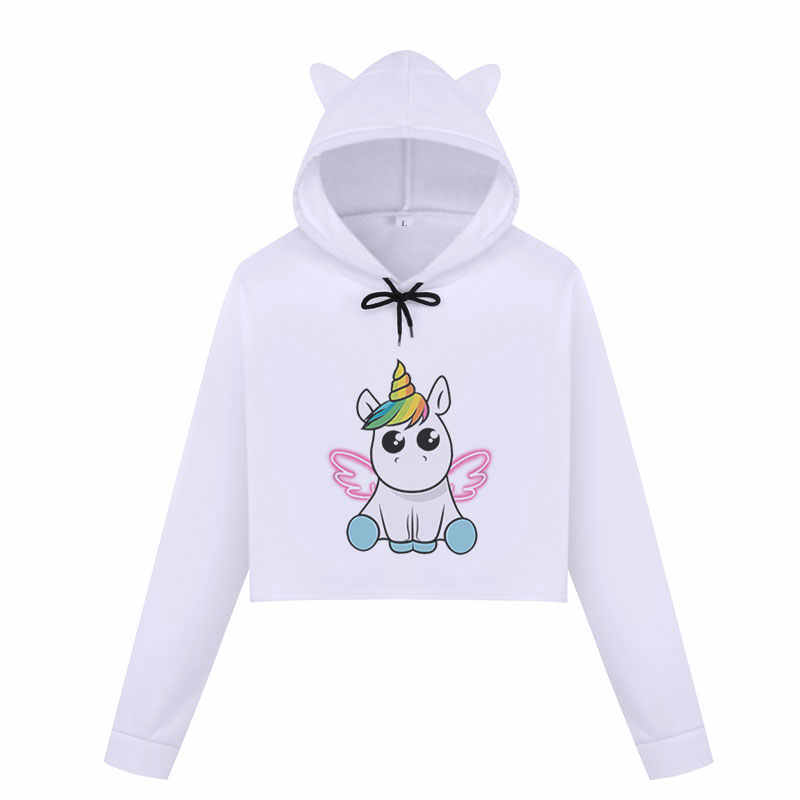 Kpop Angel Unicorn Women Hoodies Winter Sweatshirt Casual Crop Top Harajuku Kawaii Cartoon Unicorn Print Cropped Hoodie Pullover