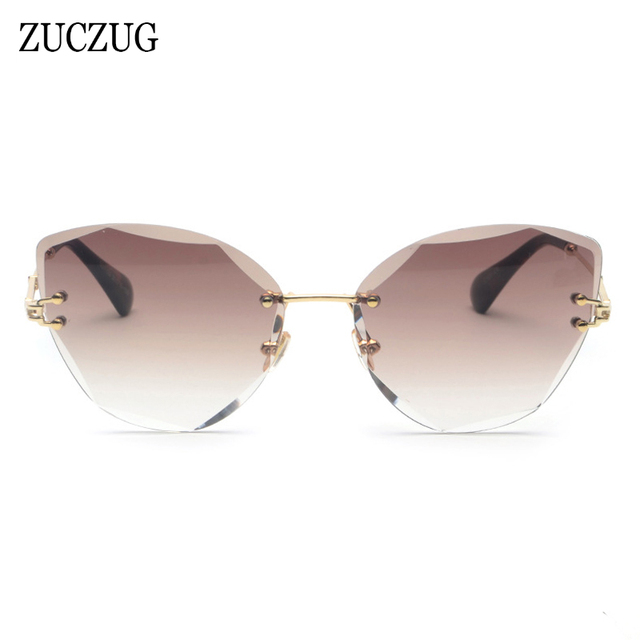 e9e8145e1e ZUCUZG Oversized Rimless Sunglasses Women Luxury Brand Designer Cat Eye Metal  Rimless Gradient Frameless Sun Glasses