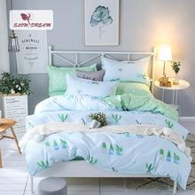 SlowDream Summer Bedding Set Cool Feeling Linen Polyester Duvet Cover Green Leaf Bed Sheet Decor Bedroom Bedclothes
