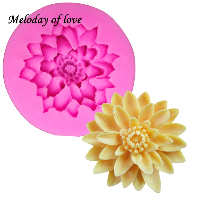 3D Beautiful Lotus chrysanthemum Flowers wedding cake decorating tools DIY baking fondant silicone mold soap mould T0158