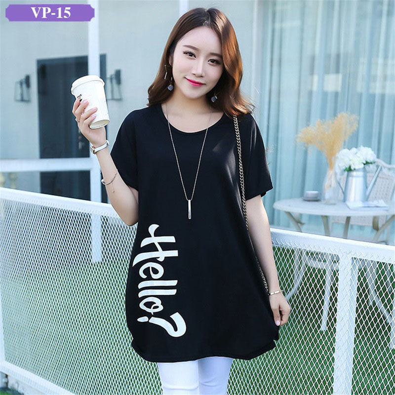 Women Long T Shirt Cotton 2017 New Style Young Girl Cartoon Loose T-shirt Big Size Black O-Neck Breathable Female Fashion Tops
