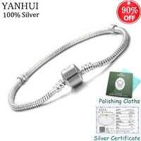 Große 95% OFF! Zertifiziert Schmuck Original 925 Solide Silber Charme Armband Edlen Schmuck Schlange Knochen Perlen Armbänder für Frauen CB00595