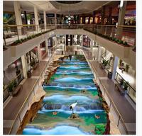 Mural 3d PVC Wallpaper Self adhesive Floor Wallpaper 3d Rock forest scenic waterfall Modern Floor painting