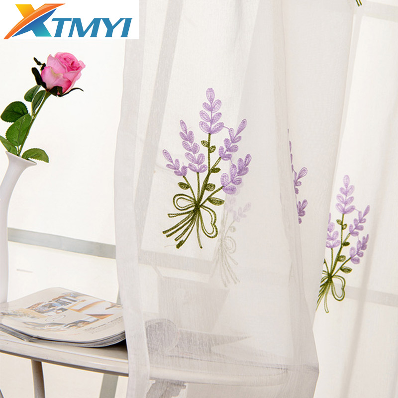 Tulle Curtains Sheer Linen Embroidered Girls Bedroom Purple Living-Room Custom-Made