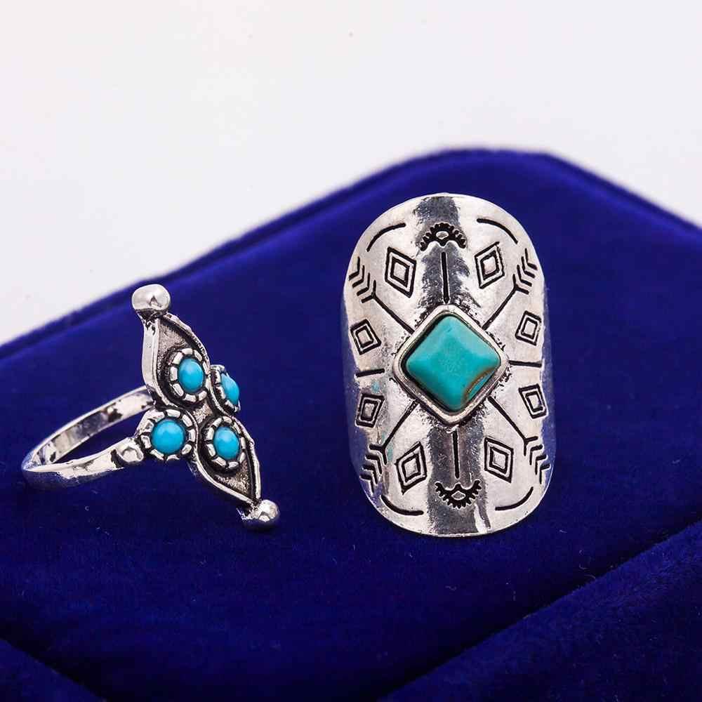 9 cái/bộ Vòng Cổ Điển Đặt Độc Đáo Khắc Antique Bạc Knuckle Nhẫn đối với Phụ Nữ Gypsy Midi Anel Boho Bãi Biển Đồ Trang Sức