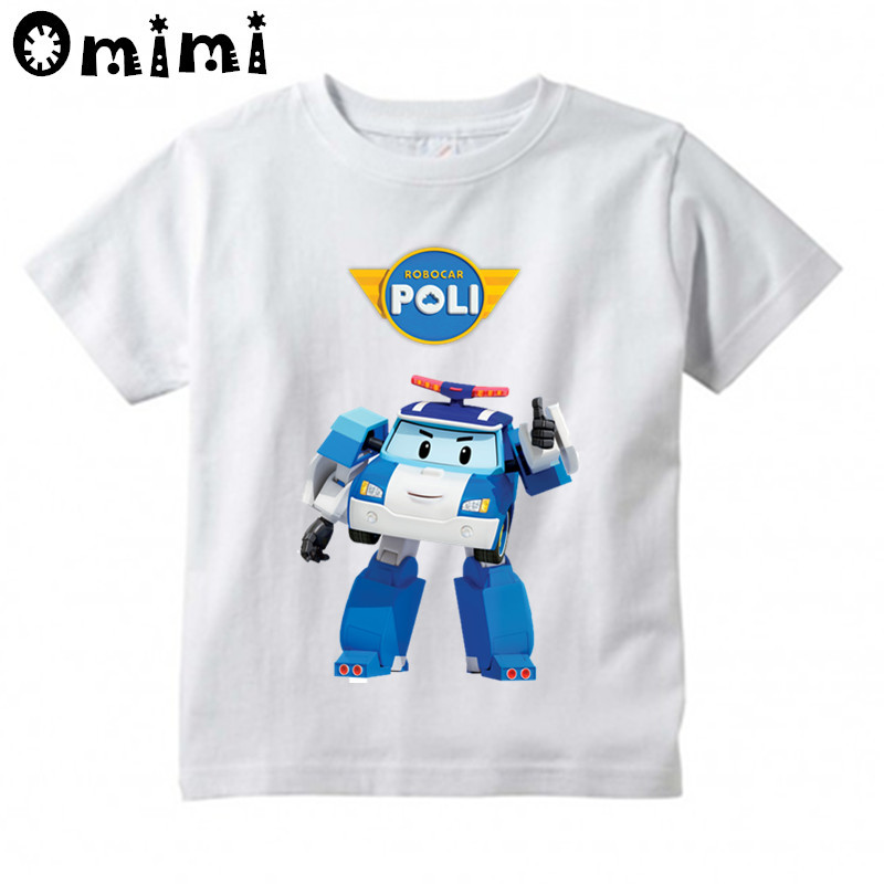 Children's Cartoon Robocar Poli Printed T Shirt Kids Great Casual Short Sleeve Tops Boys and Girls Cute T-Shirt children s anime my neighbor totoro printed t shirt kids great casual short sleeve tops boys and girls cute t shirt