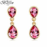 High Quality 100 Genuine Crystals From Swarovski Piercing Earrings Handmade Earrings Women Fine Jewelry