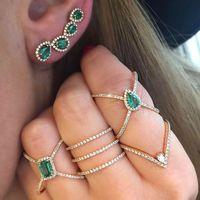 Зеленый синий cz X кольцо criss cross micro pave cz для женщин полный группа 2018 Новое поступление Мода Элегантность палец ювелирные изделия