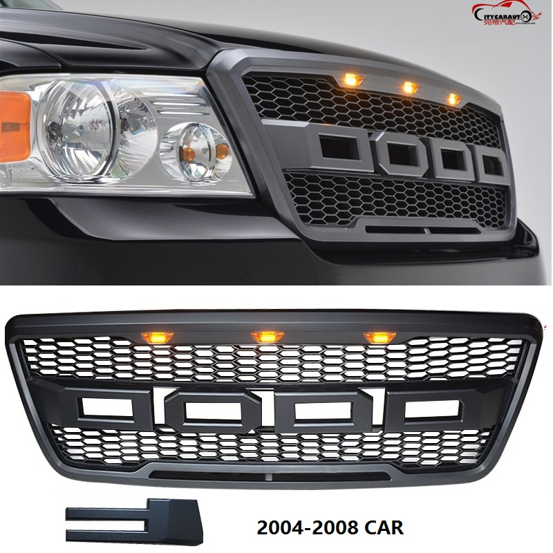 own design modified front racing led grill grille ABS black front trim Replacement Grill Raptor fit for F-150 <font><b>F150</b></font> 2004-2008 image