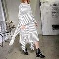 [XITAO] 2017 новая коллекция весна Европа женская мода свободные нерегулярные полосы шить Круглым воротом пуловер середины икры dress ATT013