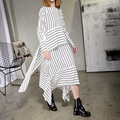 [Xitao] 2017 nova primavera europa moda loose women irregular stripe costura gola redonda pulôver mid-calf dress att013