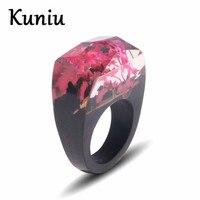 Mode bois anneau de marqueterie de fleurs Séchées résine conception hommes de mariage bague de fiançailles bijoux Dropshipping