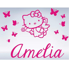 Hello Kitty Butterflies Custom Name Vinyl Wall Decals Wall Stickers Girls  Princess Room Decor Free Shipping Large Size:92x70cm Part 36
