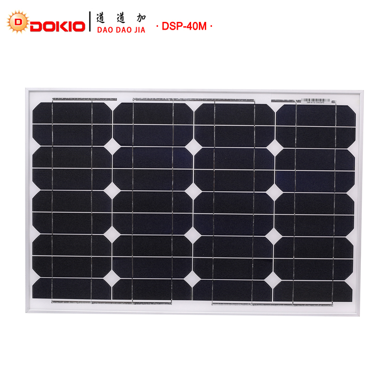 Dokio Brand Panel Solar 40 Watt 50W Monocrystalline Silicon Solar Panel China 18V Size Solar battery