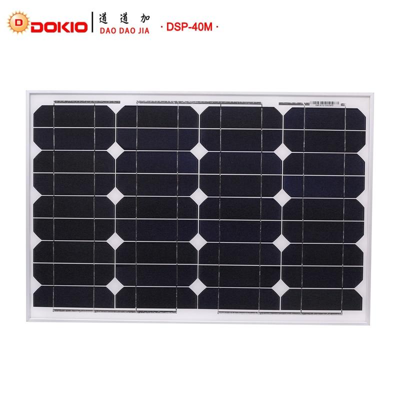Dokio Brand Panel Solar 40 Watt 50W Monocrystalline Silicon Solar Panel China 18V Size Solar battery China #DSP-40M dokio 80w monocrystalline silicon solar panel 18v 760x660x30mm size environmental protection panel solar dsp 80m