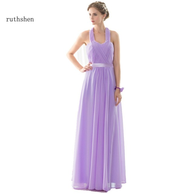 ruthshen Light Purple Evening Gowns Long Halter Pleats Draped ...