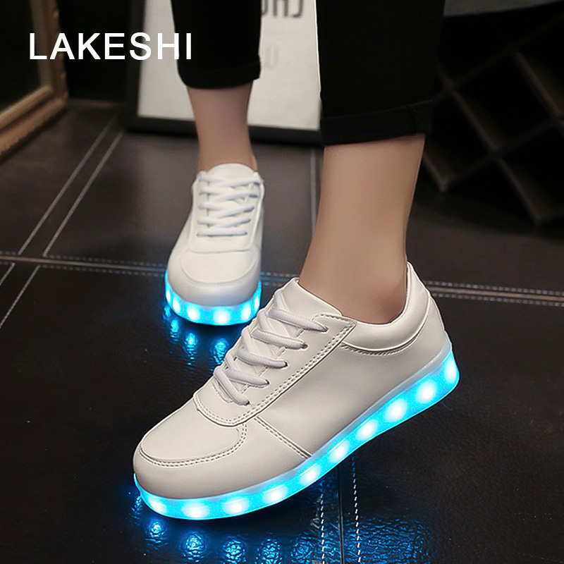 LED Luminous Shoes Women Shoes Comfortable Fashion Led Shoes USB Charging Lights Shoes 7 Colors 8 color led luminous shoes unisex glow shoe men women fashion lover tide leather recharge usb light shoes