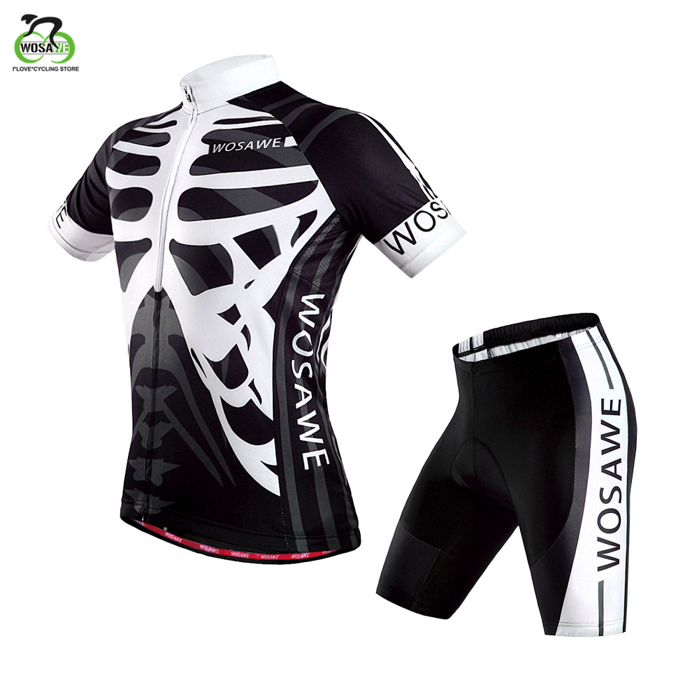 WOSAWE Pro Team MTB Men Summer Short Sleeve Short Bike Cycling Jersey Clothing Bicycle Triathlon Shirt Wear Clothes US Size