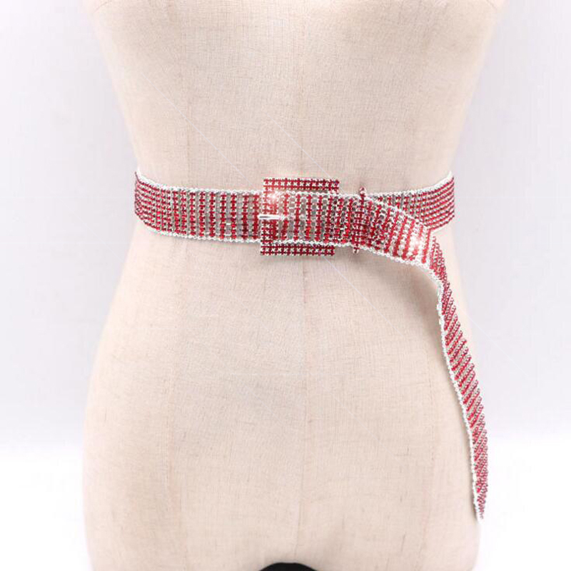 2018 New Luxury Hot belts Women's Colorful Rhinestone bride Belt Silver Bling Female Crystal Waistband Wedding Belt accessories