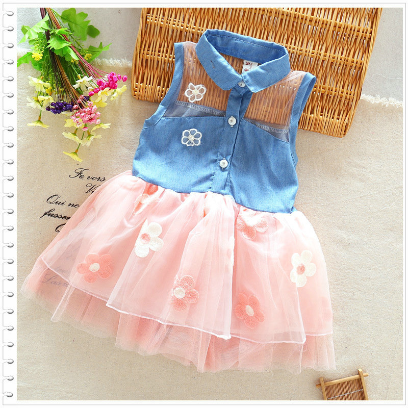 Baby Girl Dress 2017 Summer Children sin mangas Christmas Girls Denim Floral Dresses1-3 años Kids Princess Net Yarn Flower Dress