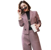 High Quality Womens Business Trouser Pant Suits Set Women OL Elegant Pink Grey Plaid Uniform Short Jackets and Wide Leg Pants