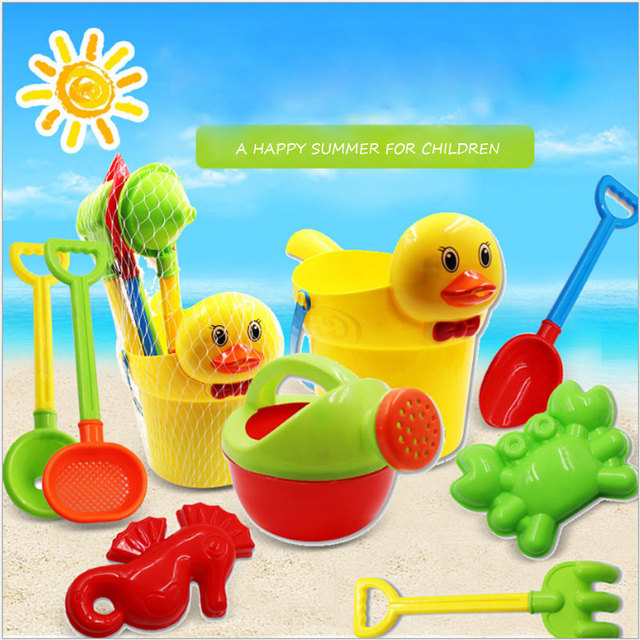 Yunnasi 8pcs Summer Sand Beach Toys Kids Spade Shovel Yellow Duck Bucket Watering Can Rake Sifter