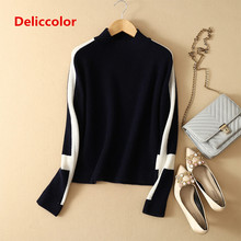 2019 100% pure cashmere sweater female Long sleeves pullover lady fashion slim  half high collar sweater plum perkins collar long lantern sleeves sweater