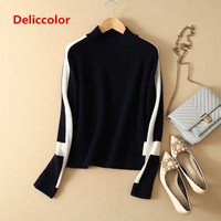 2019 100% pure cashmere sweater female Long sleeves pullover lady fashion slim half high collar sweater