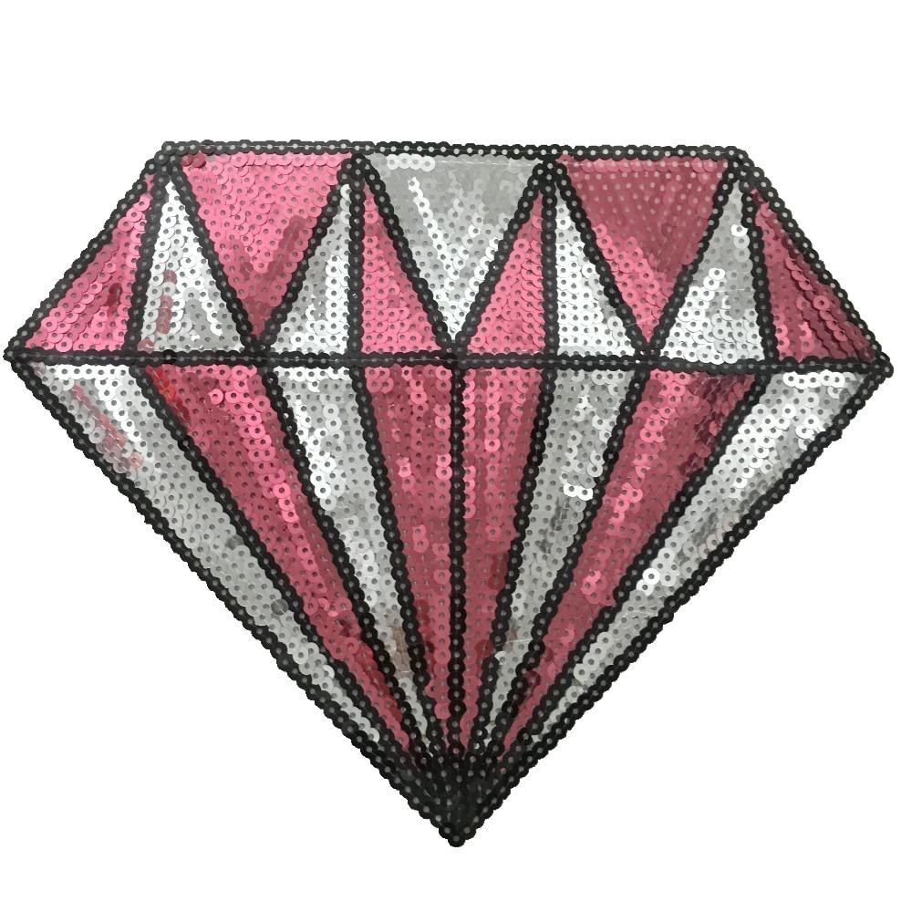 2PCS Pink Sequins Diamond Patches för Kläder Väskor T-shirt Sy på - Konst, hantverk och sömnad