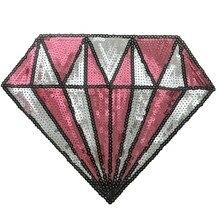 2 UNIDS Pink Lentejuelas Diamante Parches para la Ropa Bolsas de costura de la Talle en Parche de lentejuelas Gran Decoración de BRICOLAJE Accesorios Apliques