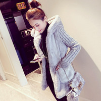 S 3XL Women's Sweater Coat Autumn 2018 Winter Fashion Girl's Knitting Tops Loose Knitted Patchwork Plush Thick Outerwear Female