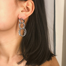 Exaggerated Punk 3 Layers Twisted Circle Geometric Long Drop Earrings Hanging for Women Fashion Jewelry Female