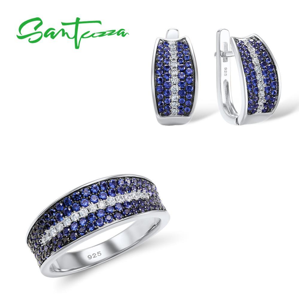 Santuzza Jewelry Sets For Women Gem Stone Blue Nano Cubic Zirconia Jewelry Set Ring Earrings 925