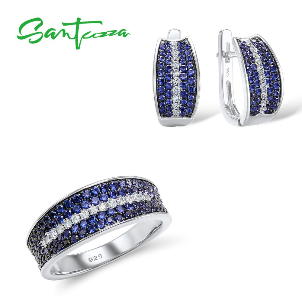 Santuzza Jewelry Sets For Women Gem Stone Blue Nano Cubic Zirconia Jewelry Set Ring Earrings 925 Sterling Silver Jewelry Set faux gem coin leaf jewelry set